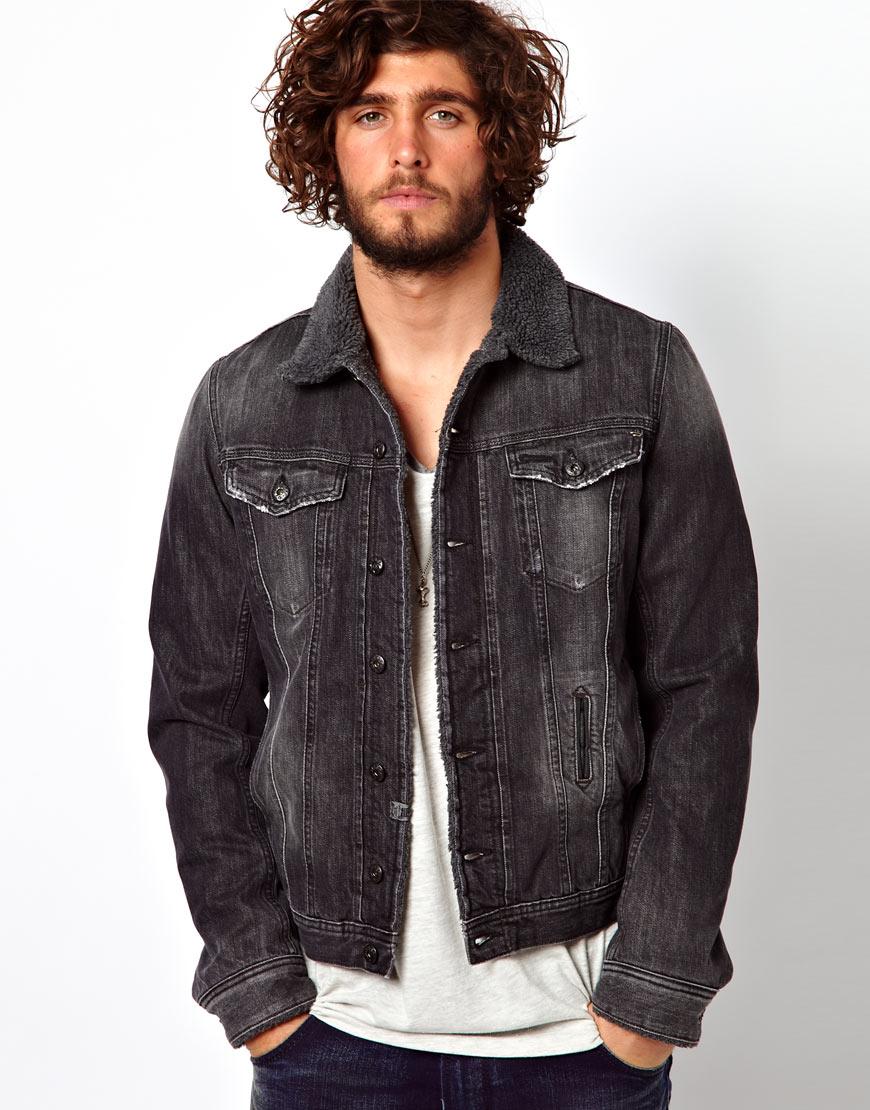 G Star Raw Diesel Denim Jacket Elshar Borg Lined In Black
