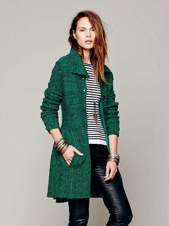 Free people Loch Raven Sweater Jacket in Green | Lyst