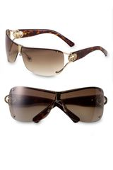 Gucci Shield Sunglasses with Crystal Logo Detail - Lyst
