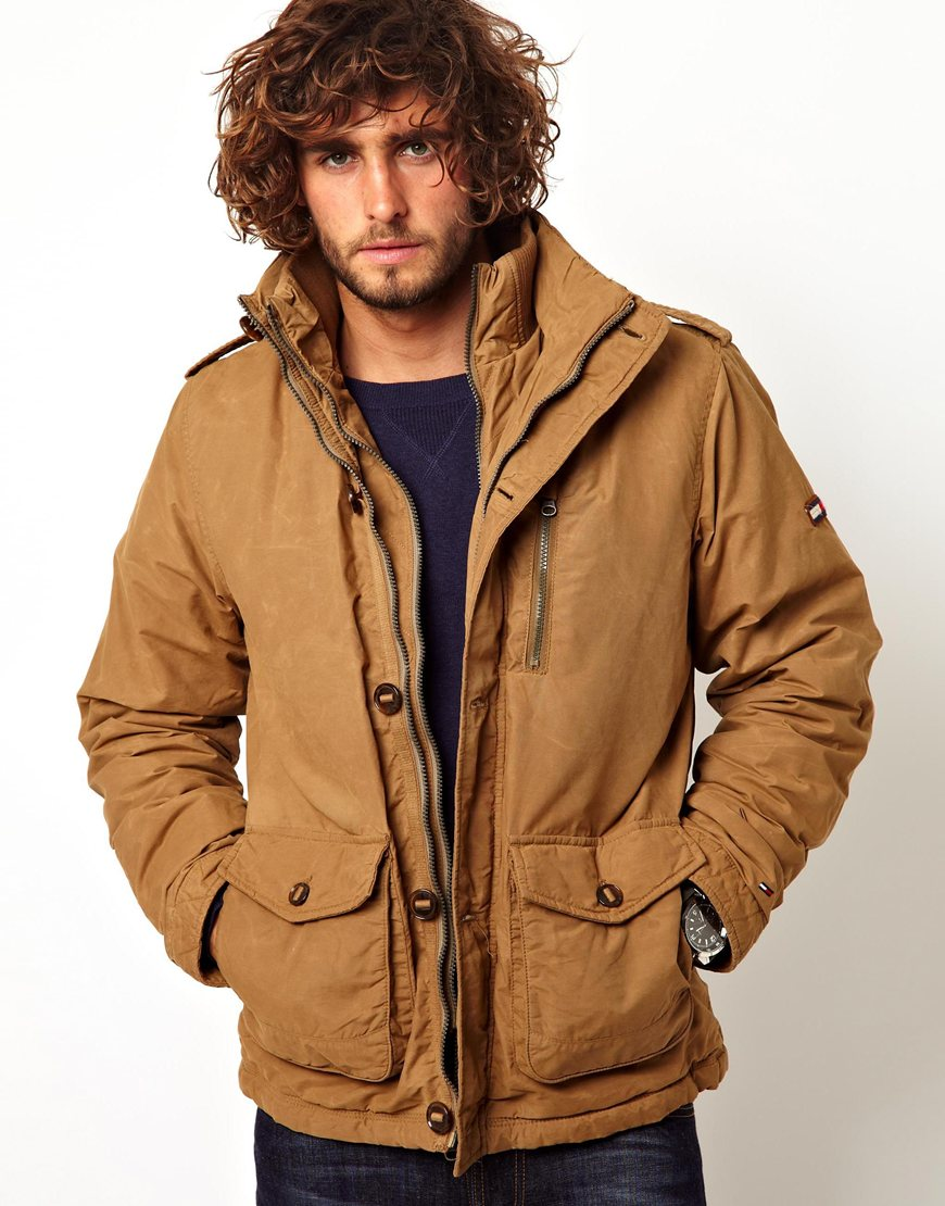 Hilfiger denim Field Jacket in Brown for Men | Lyst