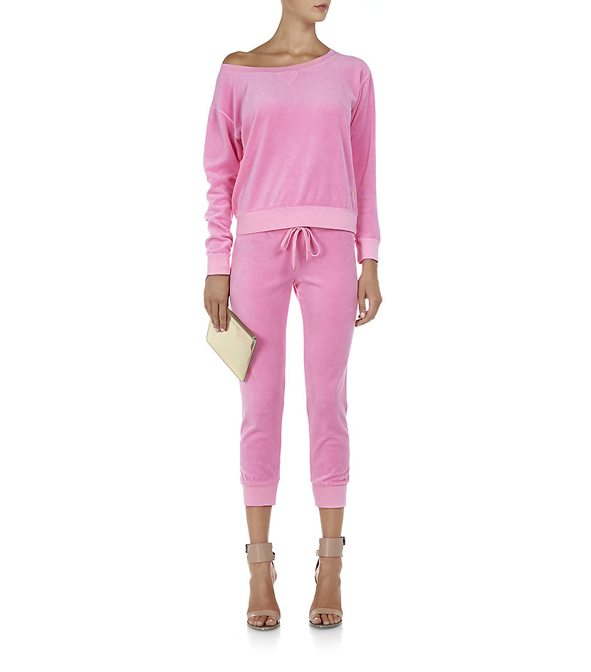 Juicy couture Skinny Velour Tracksuit Pants in Pink | Lyst