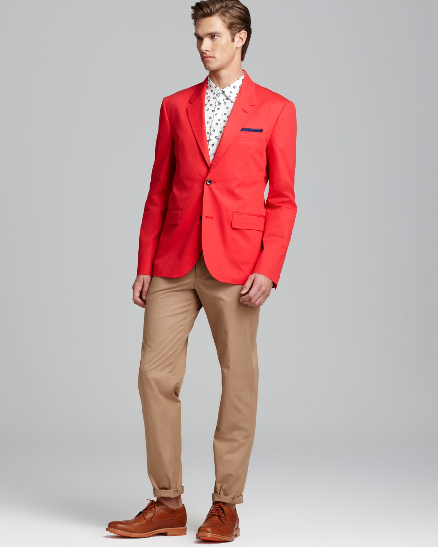 Images of Mens Red Sport Coat Blazer - Reikian