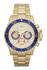 Michael Kors Midsize Golden Stainless Steel Chronograph Watch - Lyst