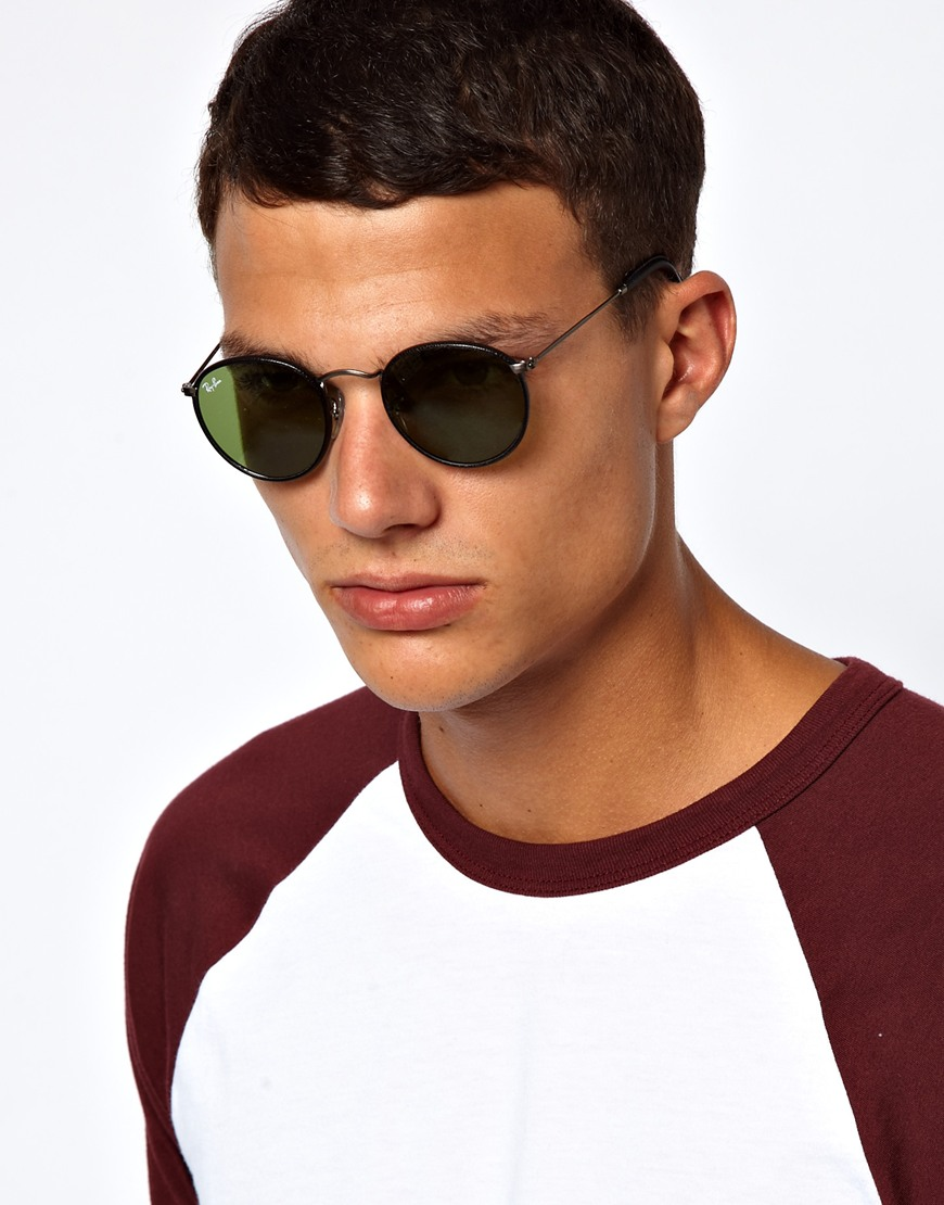 Ray Ban Round Sunglasses In Black For Men Lyst
