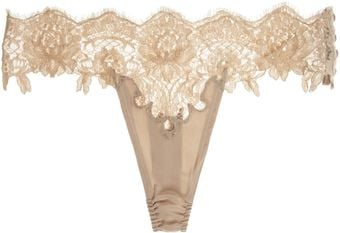 Rosamosario Nudita Ricca Chantilly Lace and Silk Thong - Lyst