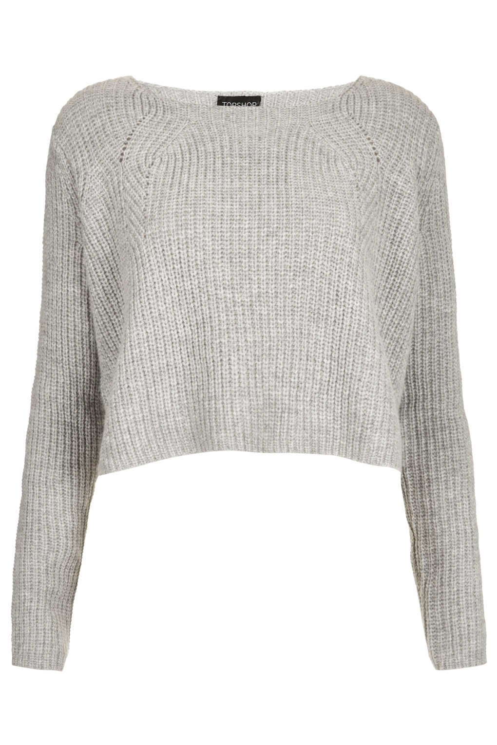 Cropped Jumper Knitting Pattern : Topshop Knitted Ribbed Crop Jumper in Gray Lyst