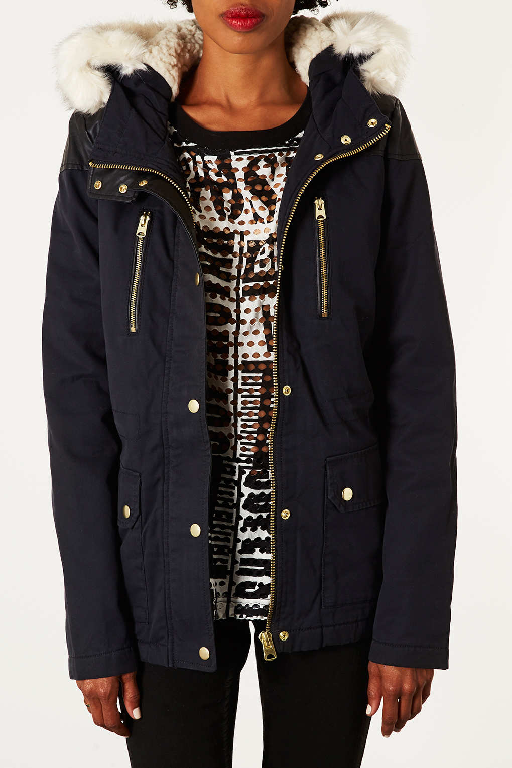 Topshop Petite Fur Trim Borg Lined Parka in Blue | Lyst