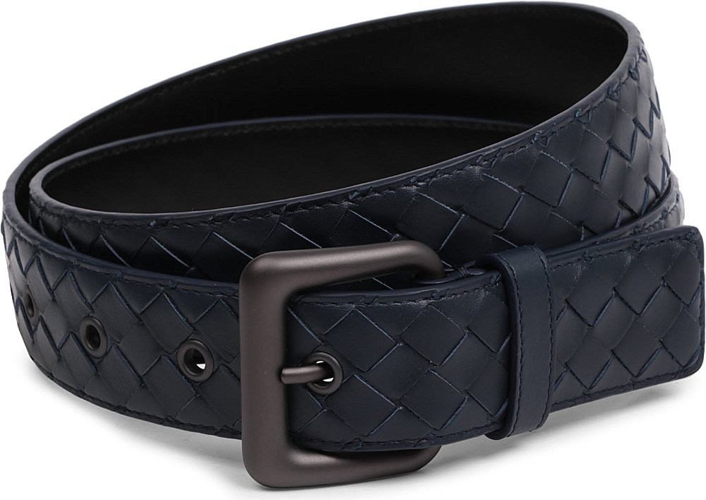 Borse Bottega Veneta 2013 : Bottega veneta intrecciato leather belt in blue lyst
