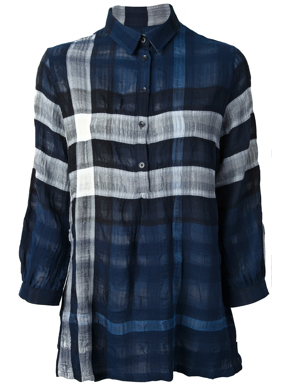 Burberry brit check shirt in blue lyst for Burberry brit checked shirt