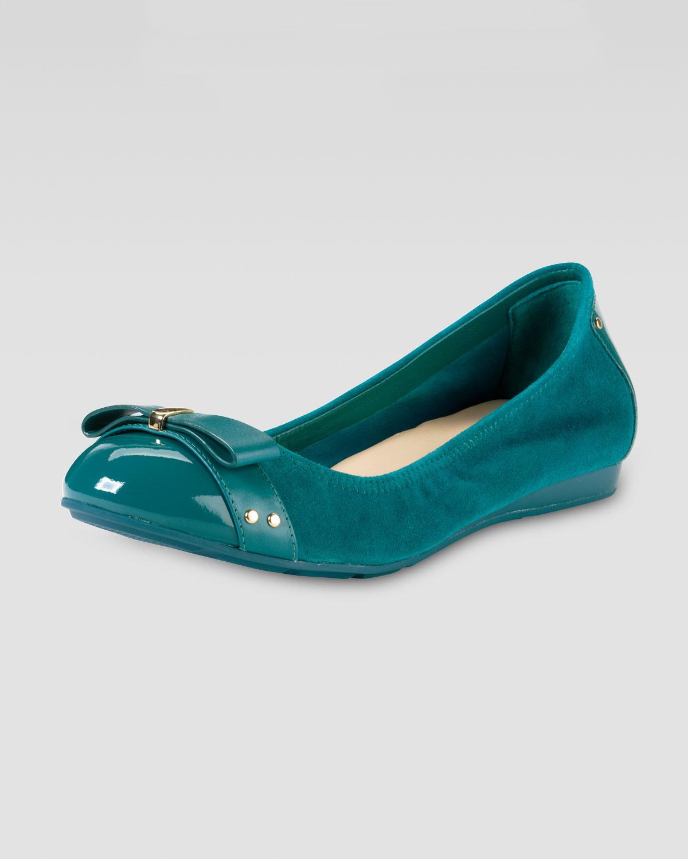 Cole Haan Air Monica Suede Patent Ballerina Flat In Blue