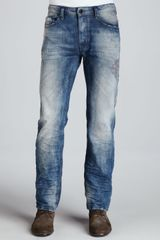 Diesel Waykee Straightleg Distressed Jeans Medium Blue - Lyst
