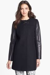 French Connection Collarless Leather Sleeve Coat - Lyst