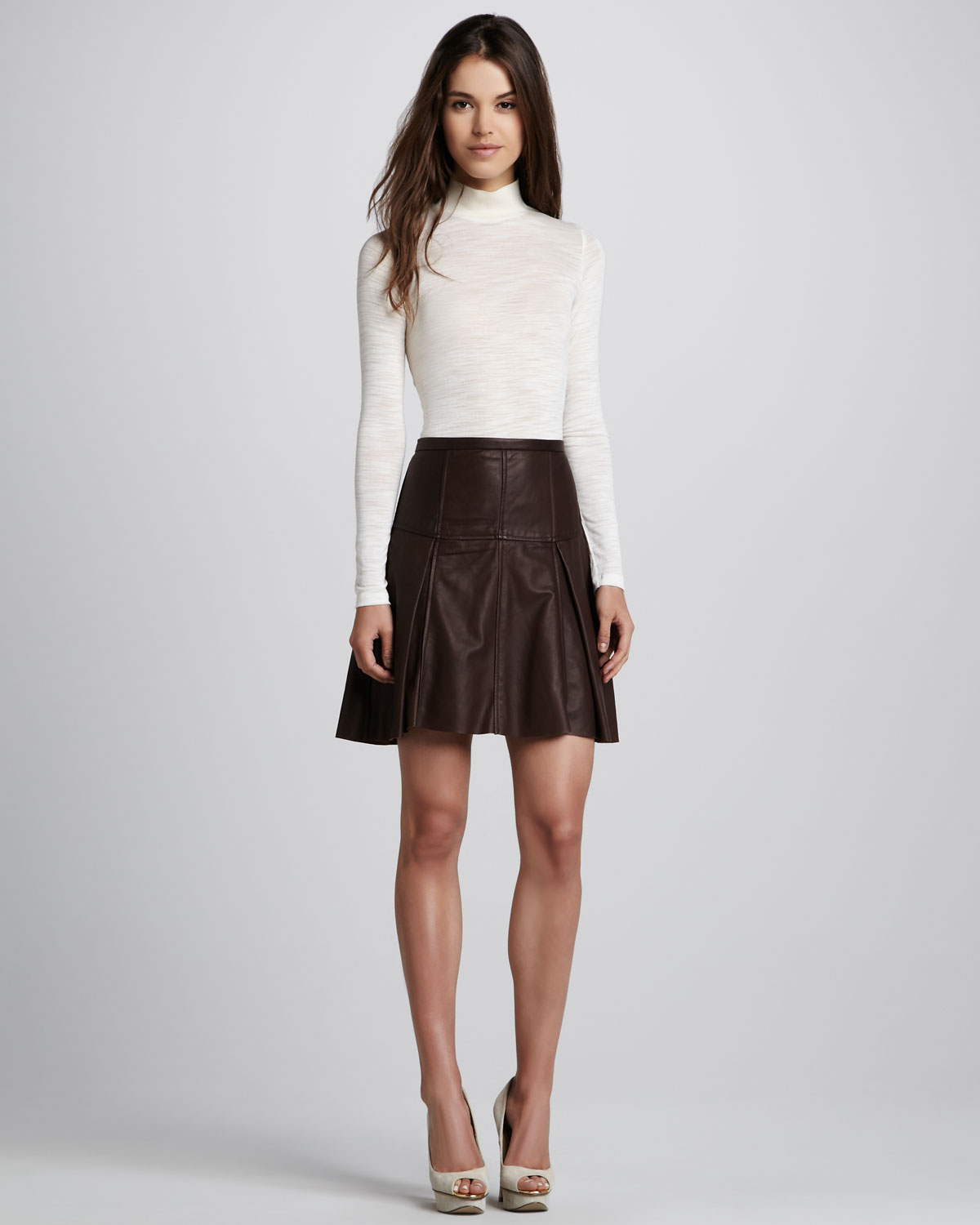 Flared Leather Skirt - Skirts