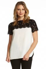 Karen Kane Lace Yoke Top - Lyst