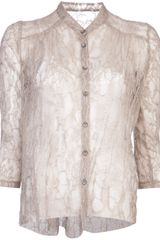 Raquel Allegra Shirred Lace Blouse - Lyst