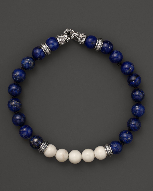 Scott kay Lapis and Bone Beaded Bracelet in Metallic for Men | Lyst