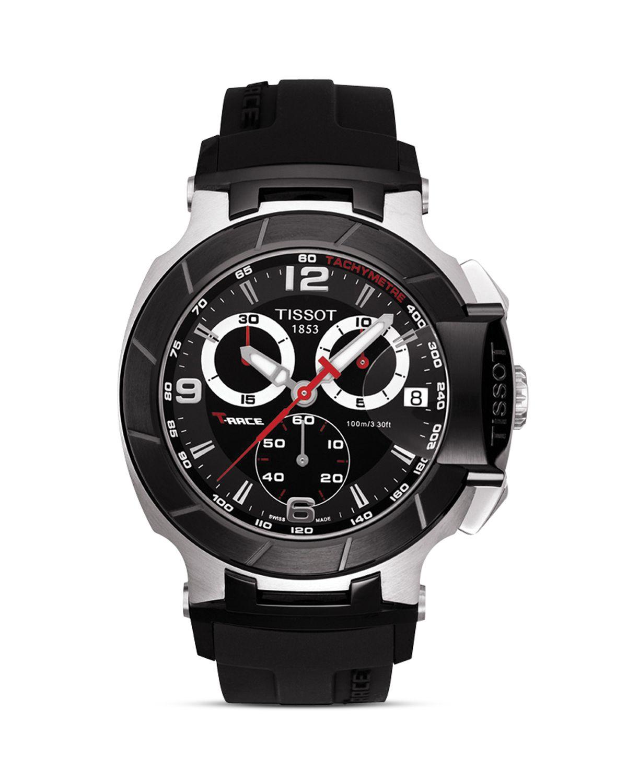 tissot t race men 39 s black quartz chronograph rubber strap. Black Bedroom Furniture Sets. Home Design Ideas