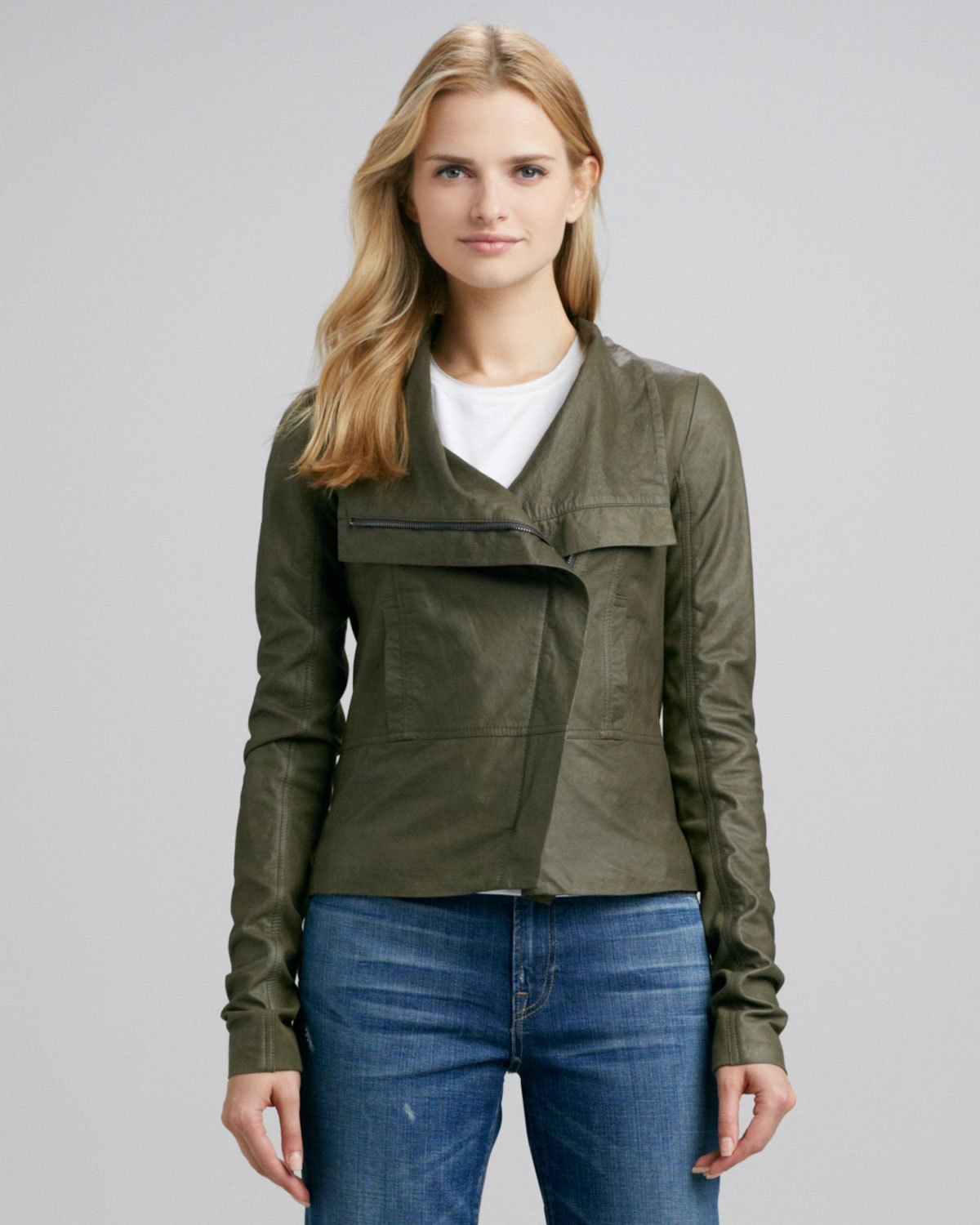 Olive Green Leather Jacket Womens