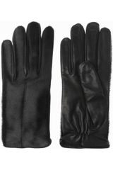 Acne Aura Calf Hair and Leather Gloves - Lyst