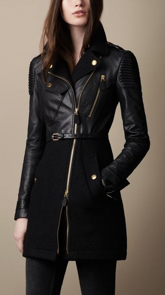 Burberry Felted Wool and Leather Trench Coat - Lyst