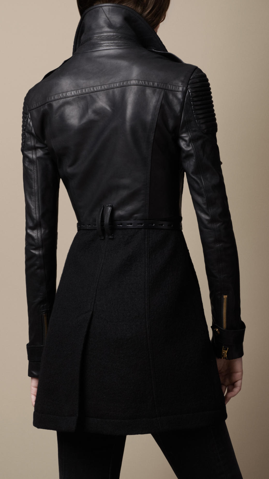 Burberry Felted Wool And Leather Trench Coat In Black Lyst