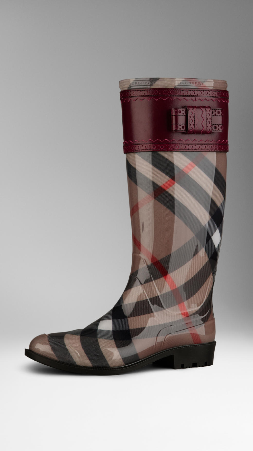 Burberry Leather Detail Check Rain Boots In Red For Men
