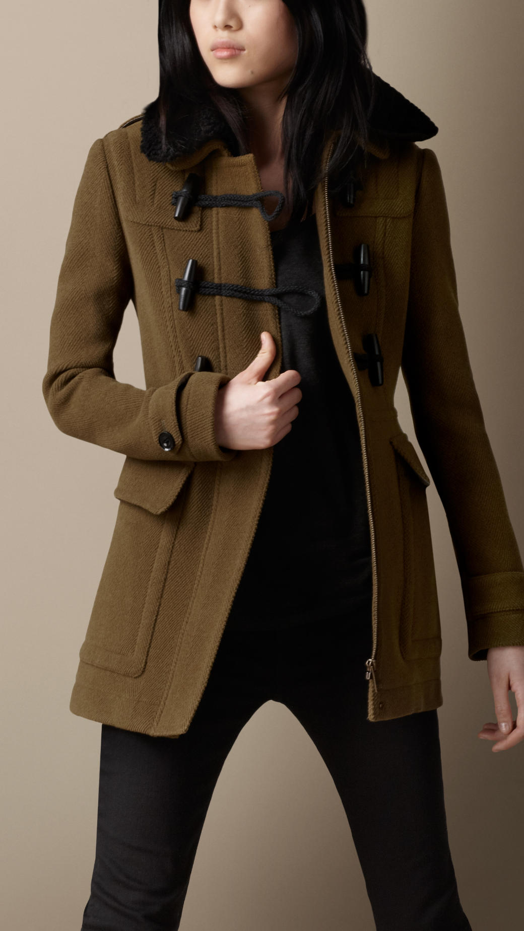 Burberry Shearling Collar Fitted Duffle Coat in Brown   Lyst