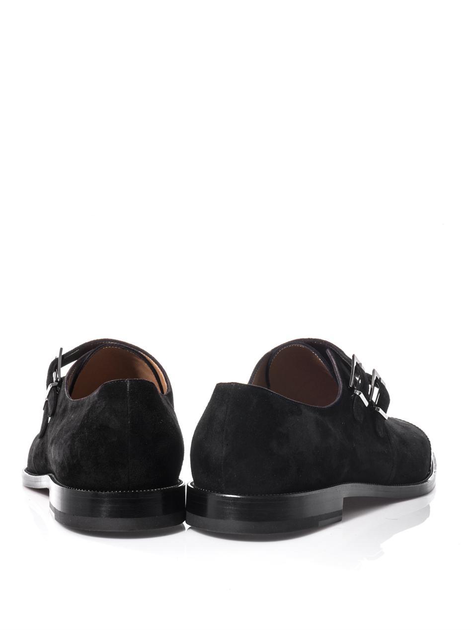 Lyst Christian Louboutin Vikram Monkstrap Suede Shoes In