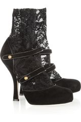 Dolce & Gabbana Suede and Stretch lace Ankle Boots - Lyst
