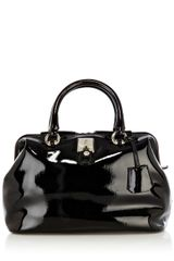 Karen Millen Patent Bowler Collection Bag - Lyst