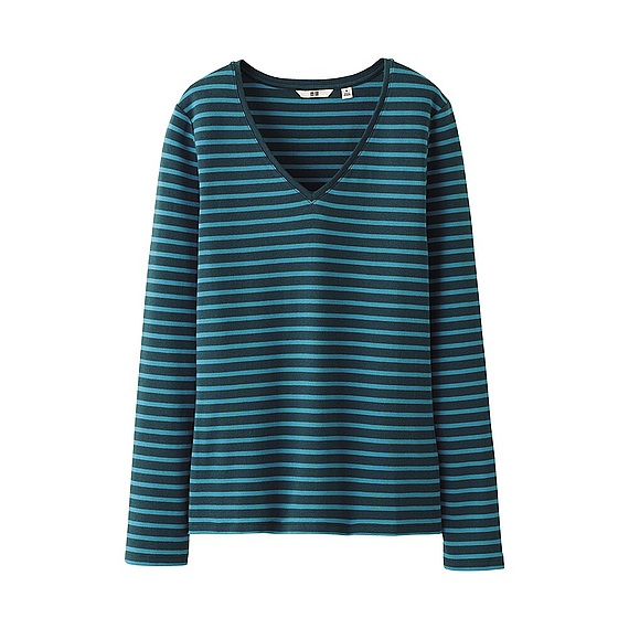 Uniqlo Premium Cotton Striped V Neck Long Sleeve Tshirt In