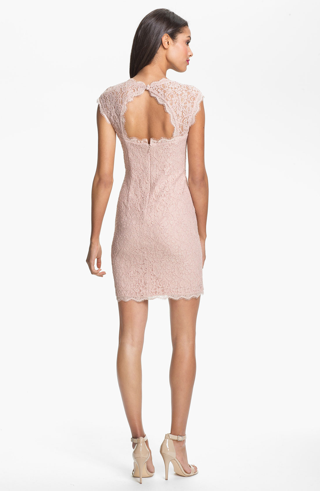 Adrianna Papell Lace Sheath Dress In Pink Blush Lyst