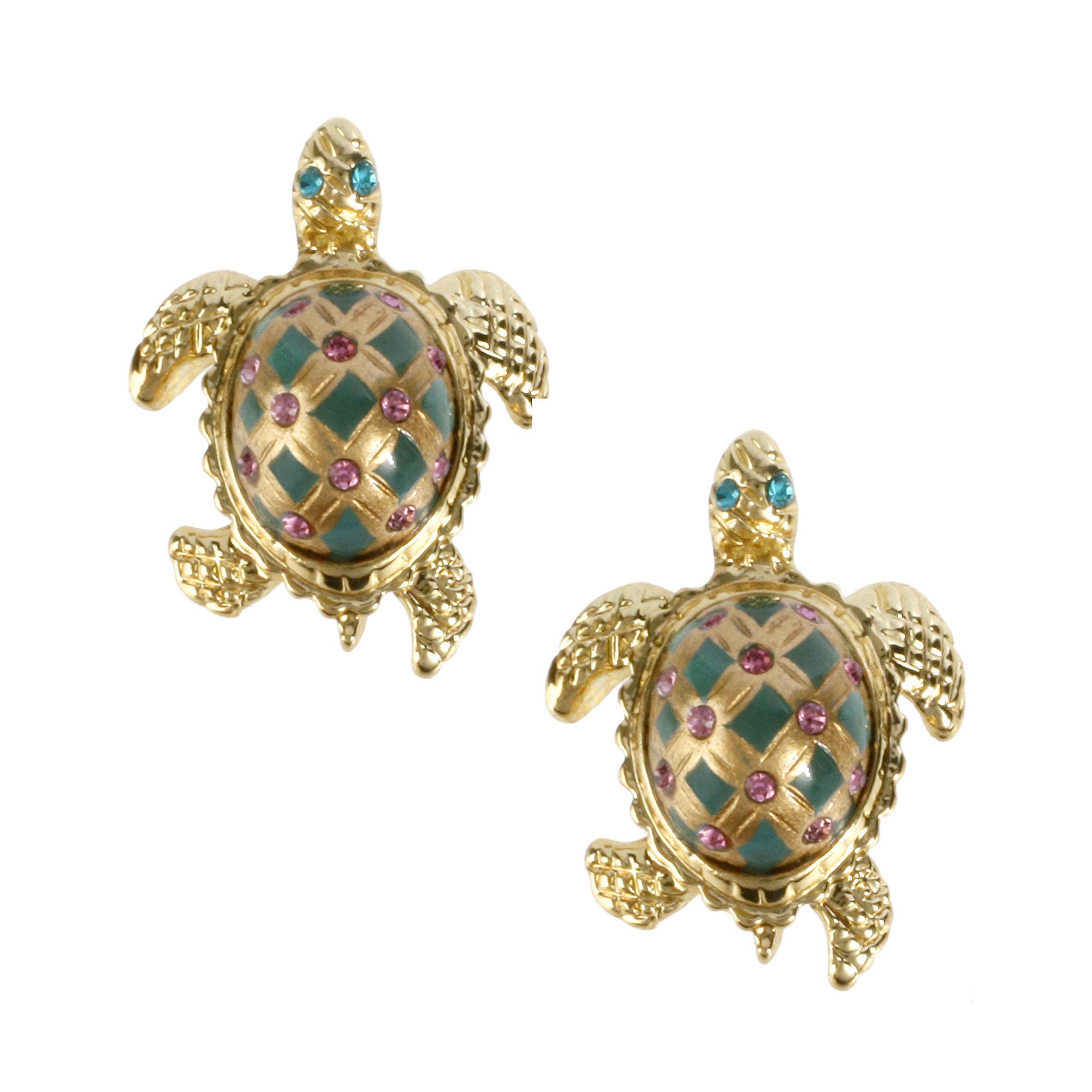 Betsey Johnson Turtle Stud Earrings In Green Lyst