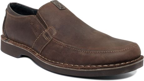 Clarks Doby Double Gore Slip On Shoes in Brown for Men (Dark Brown) - Lyst