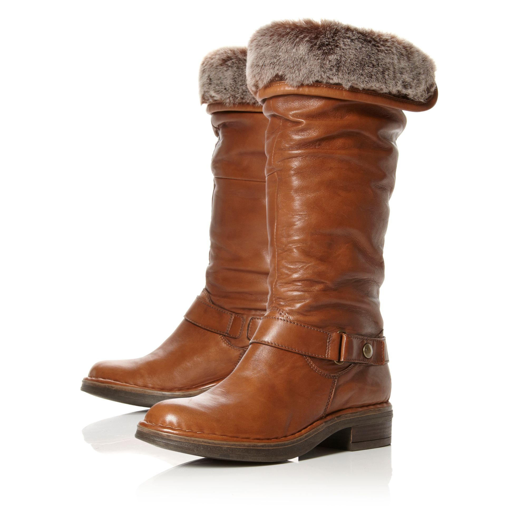 dune reading faux fur lined calf boots in brown lyst