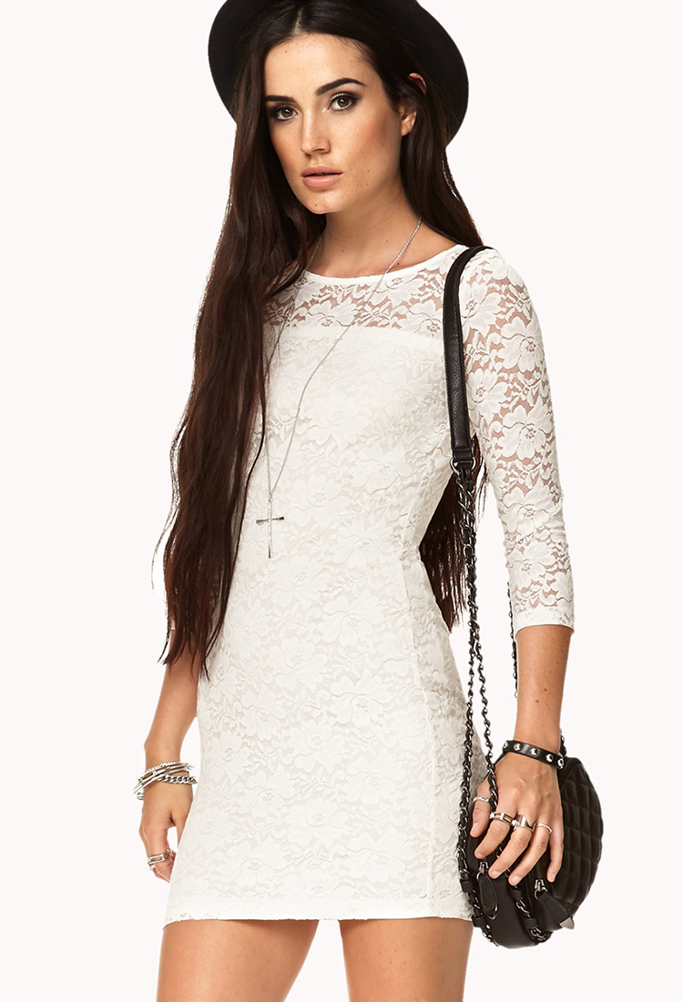 Forever 21 black white lace dress