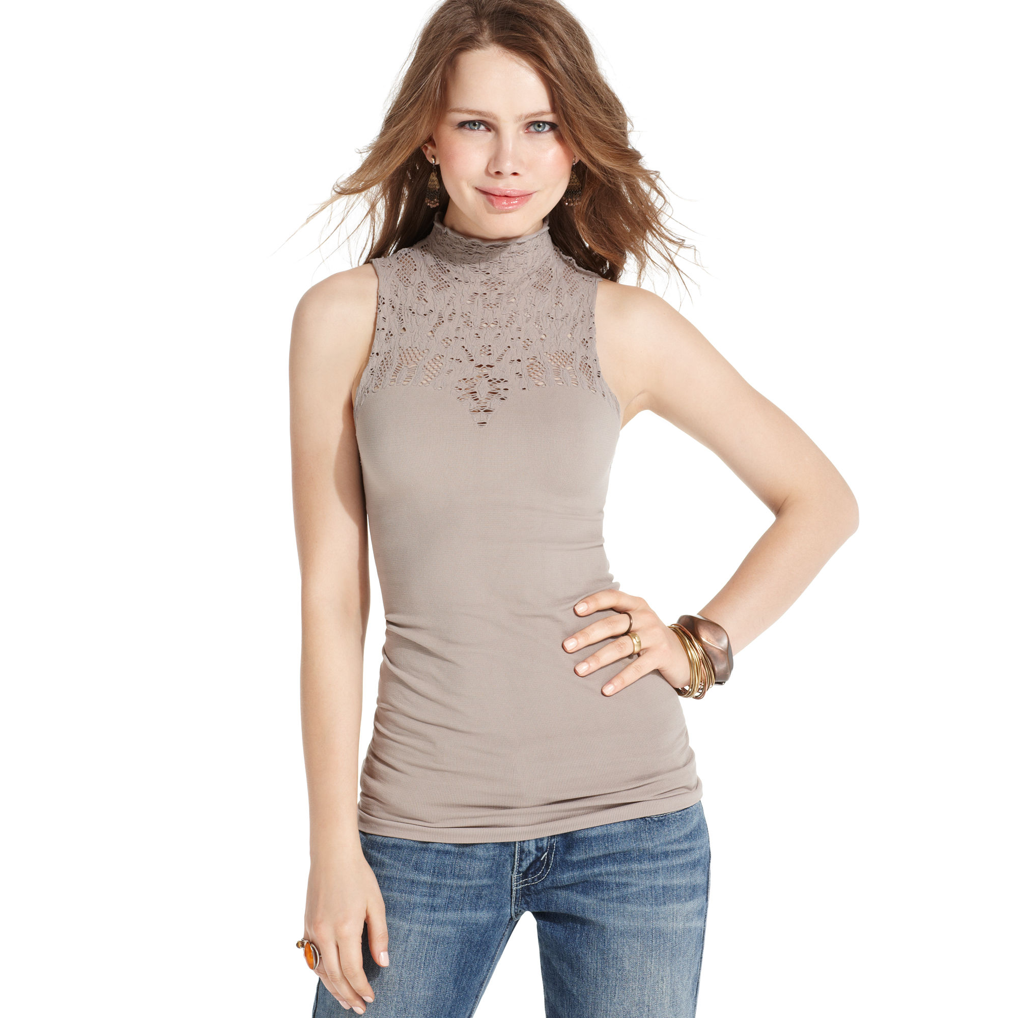 Free people sleeveless lace mock turtleneck in gray smoke for Sleeveless mock turtleneck shirts