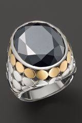 John Hardy Womens Batu Dot Gold Silver Large Oval Ring with Hematite - Lyst