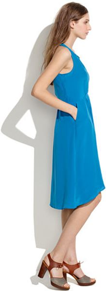 Madewell Silk Waterfall Dress In Blue Tropical Aqua Lyst