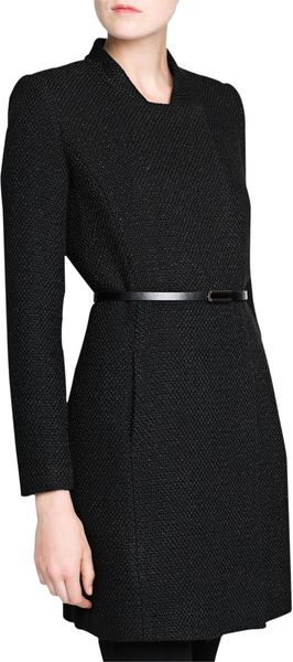 Mango Black Boucle Long Coat In Black Lyst