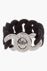 Marc By Marc Jacobs Black Rubber Katie Turnlock Bracelet - Lyst