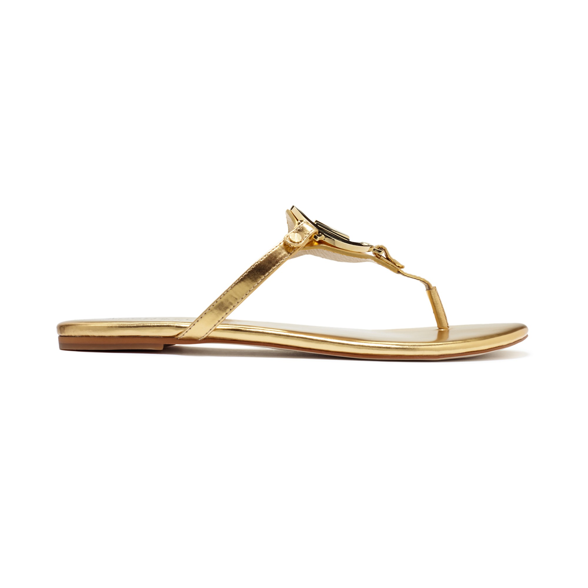 6ced288c0ed3 Lyst - Michael Kors Melodie Flat Thong Sandals in Metallic