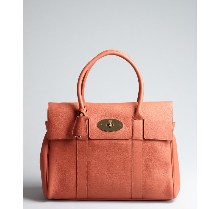 d59e5e2f08 Mulberry Burnt Peach Leather Bayswater Top Handle Bag in Orange - Lyst