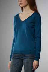 Patrizia Pepe V- Neck Sweater in Silk and Cashmere Yarn - Lyst