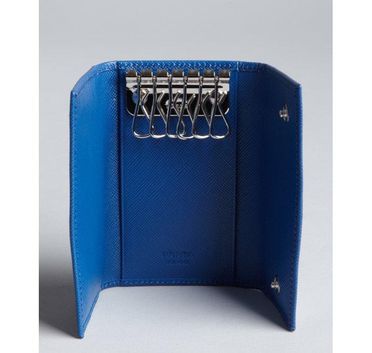 Prada Blue Saffiano Leather Key Case in Blue | Lyst