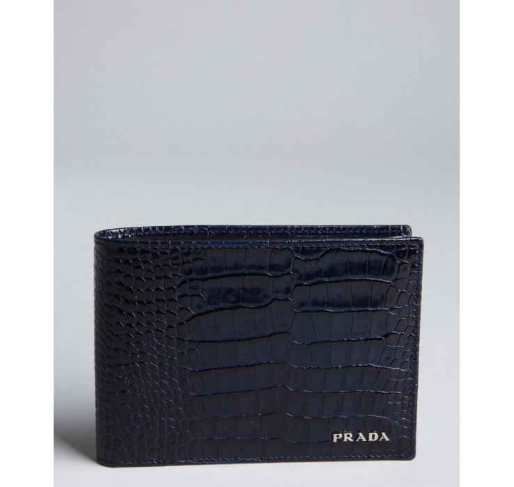 2c971d8388d2 ... netherlands lyst prada royal croc embossed patent leather bifold wallet  in 083e5 99304