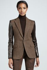 Ralph Lauren Black Label Nathaniel Leathersleeve Wool Jacket Olive - Lyst