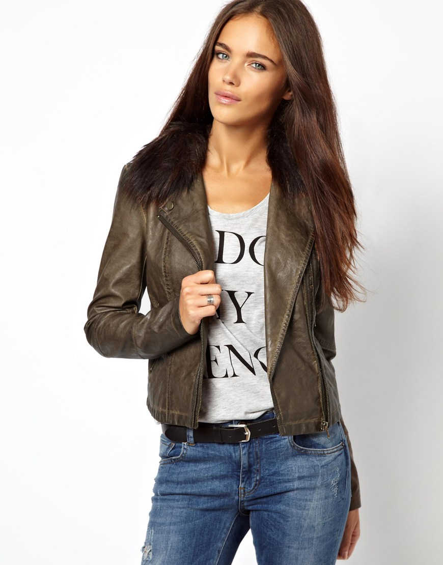 River island Leather Look Double Zip Biker Jacket with Fur Collar ...
