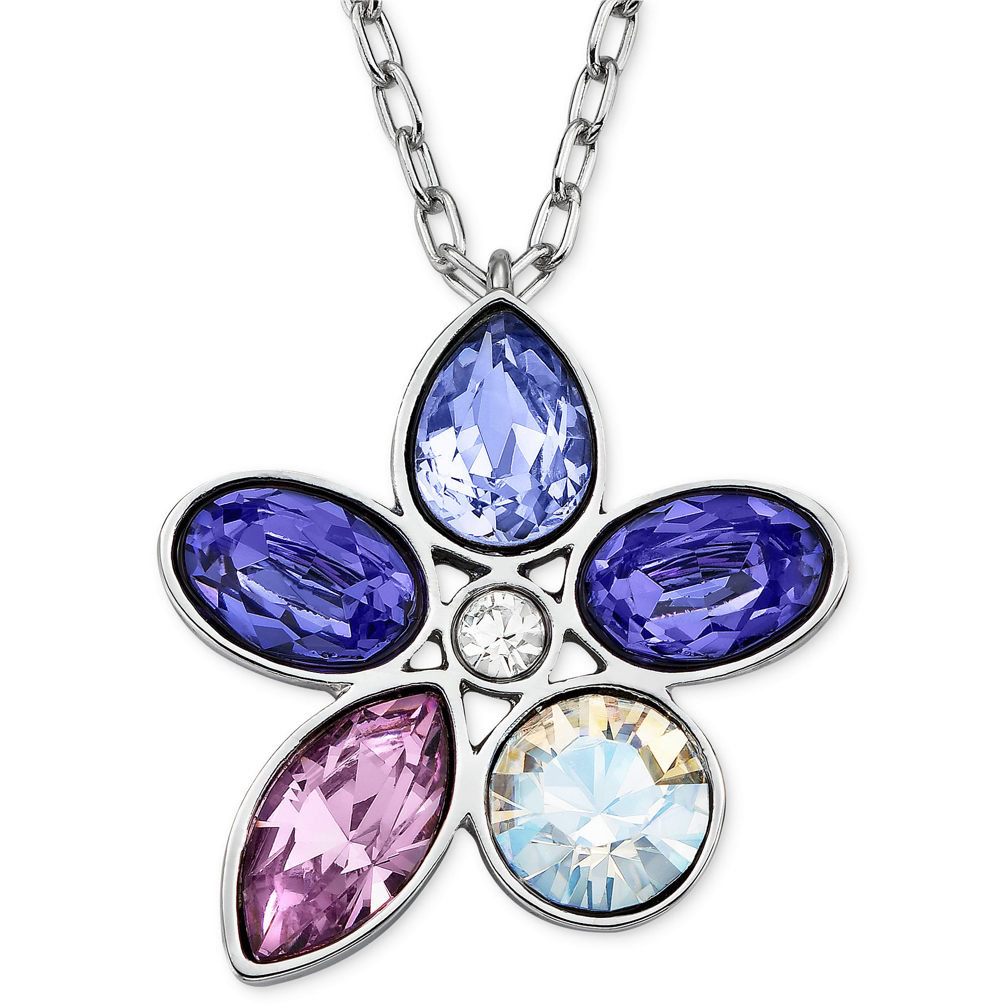 Lyst Swarovski Rhodiumplated Purple Crystal Flower