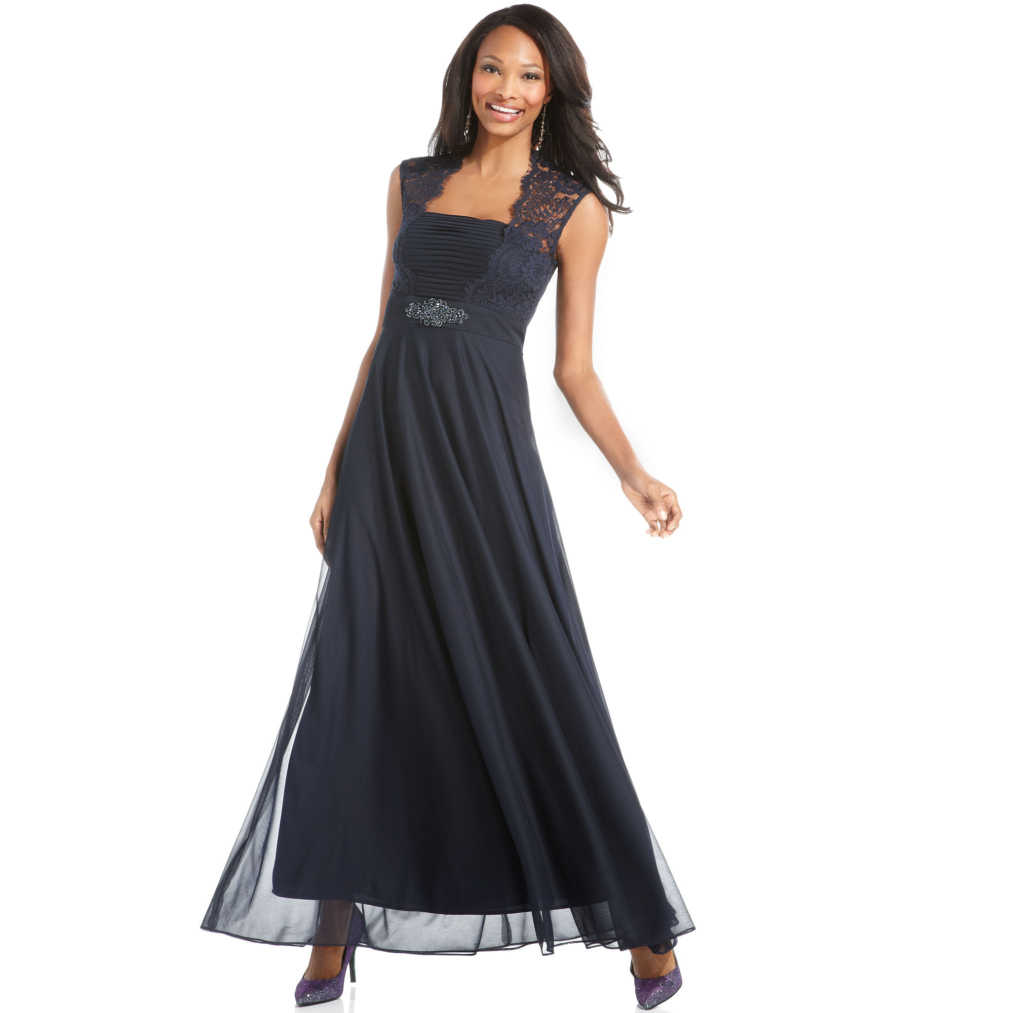 Xscape Xscape Petite Dress Sleeveless Lace Pleated Gown in ...